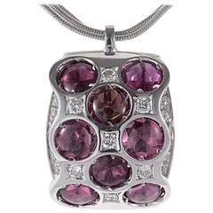 Bibigi Purple Tourmaline 18 Karat White Gold Pendant Necklace