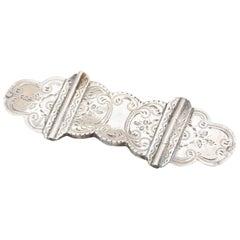 Biblical Silver Etched Book Lock Brooch