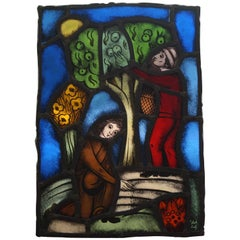 Biblical 'You Reap What You Sow' Leaded & Stained Glass Panel by Abraham Stokhof