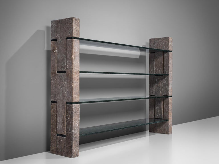 Renato Polidori for Skipper, 'Biblos' bookcase, two types of marble, Italy, 1976.  Postmodern cabinet in marble, designed by the Italian Renato Polidori in 1976. The bookcase consists of four green marble shelves, held in place by large and heavy