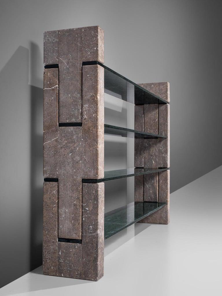 Post-Modern 'Biblos' Bookcase in Marble by Renato Polidori