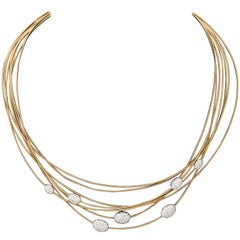 Bicego 1990s Seven Snake Pattern Strand with Floating Diamonds Gold Necklace