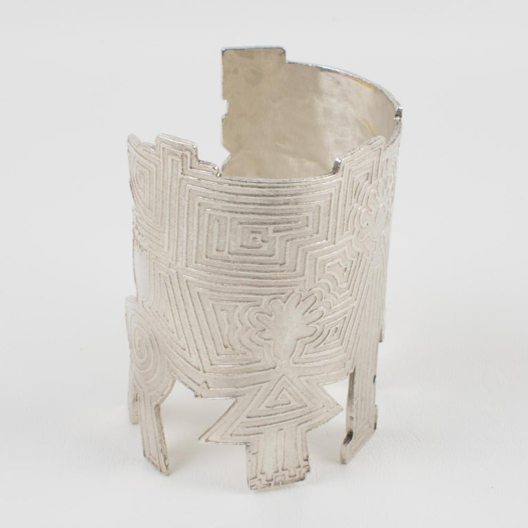 Biche de Bere Paris Limited Edition Silver Plate Graffitis Cuff Bracelet For Sale 5