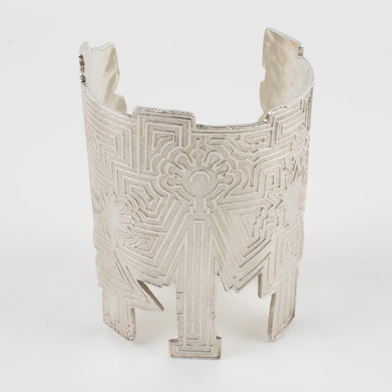 Modernist Biche de Bere Paris Limited Edition Silver Plate Graffitis Cuff Bracelet For Sale