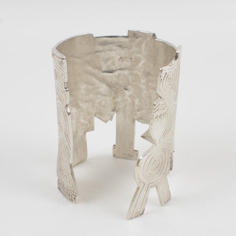 Biche de Bere Paris Limited Edition Silver Plate Graffitis Cuff Bracelet In Excellent Condition For Sale In Atlanta, GA
