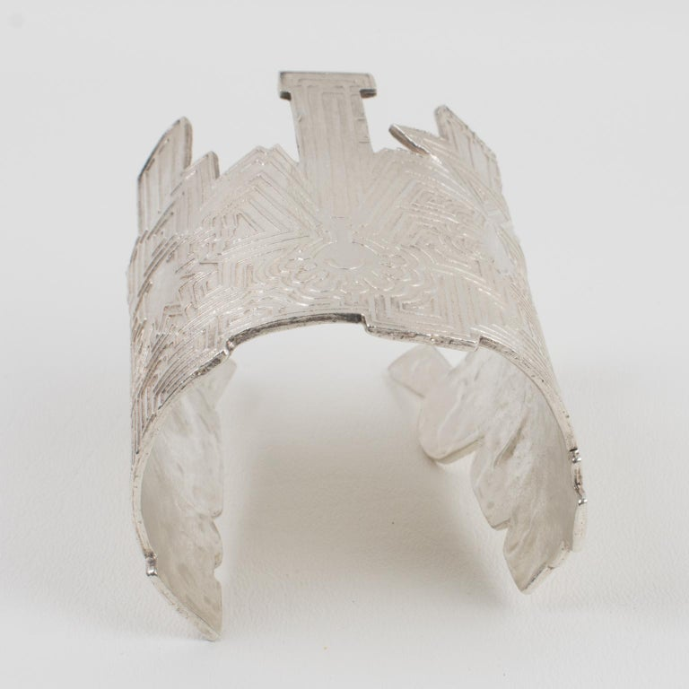 Biche de Bere Paris Limited Edition Silver Plate Graffitis Cuff Bracelet For Sale 2