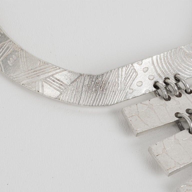 Biche de Bere Paris Limited Edition Silver Plate Graffitis Plastron Necklace For Sale 6