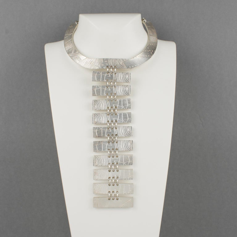 Modernist Biche de Bere Paris Limited Edition Silver Plate Graffitis Plastron Necklace For Sale