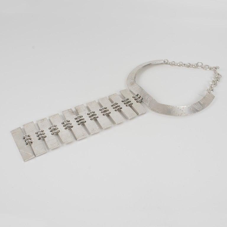 Women's or Men's Biche de Bere Paris Limited Edition Silver Plate Graffitis Plastron Necklace For Sale