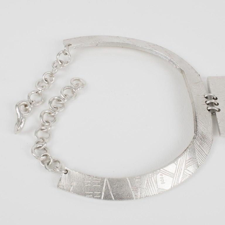 Biche de Bere Paris Limited Edition Silver Plate Graffitis Plastron Necklace For Sale 2
