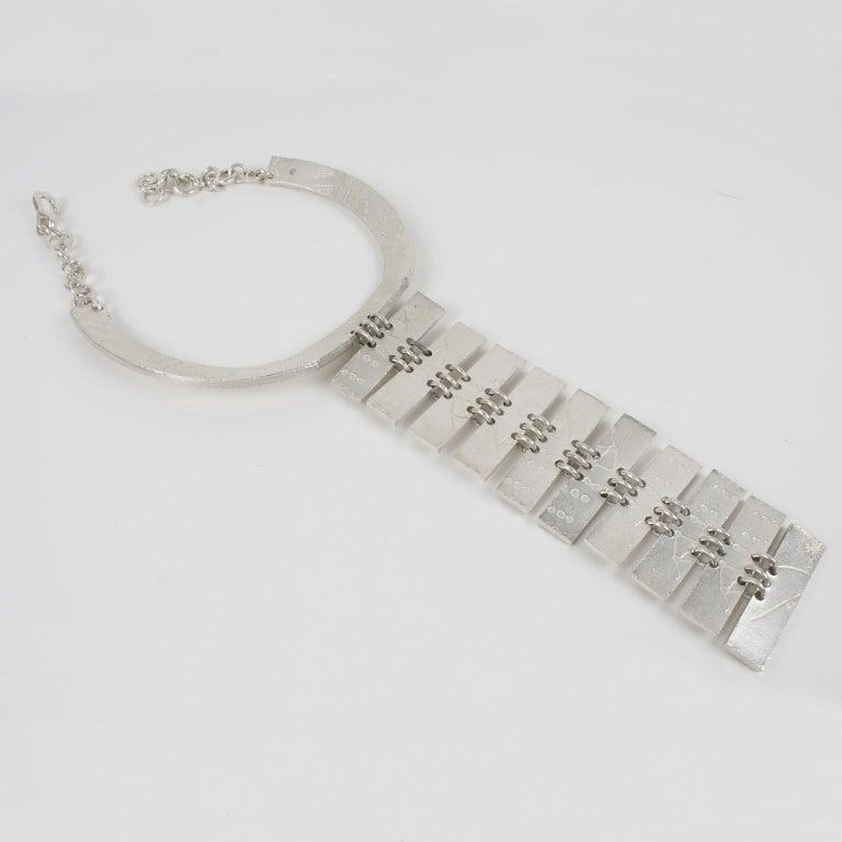 Biche de Bere Paris Limited Edition Silver Plate Graffitis Plastron Necklace For Sale 3