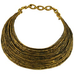 Biche de Bere Paris Vintage Brutalist Ribbed Collar Necklace