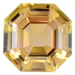 Bicolor Autumn Tourmaline Ring Gem 4.47 Carat Asscher Cut