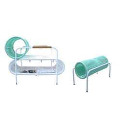 Bicolor ELO Armchair and Footstool Set Indoor/Outdoor by Filipe Ramos