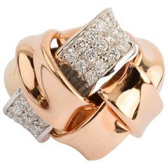 Bicolor Gold and Diamond Woven Ring
