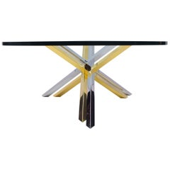 Bicolor Massive Brass and Chrome Coffee Table by Romeo Rega, 1970s
