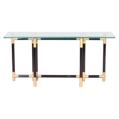 Bicolor Metal and Glass Console