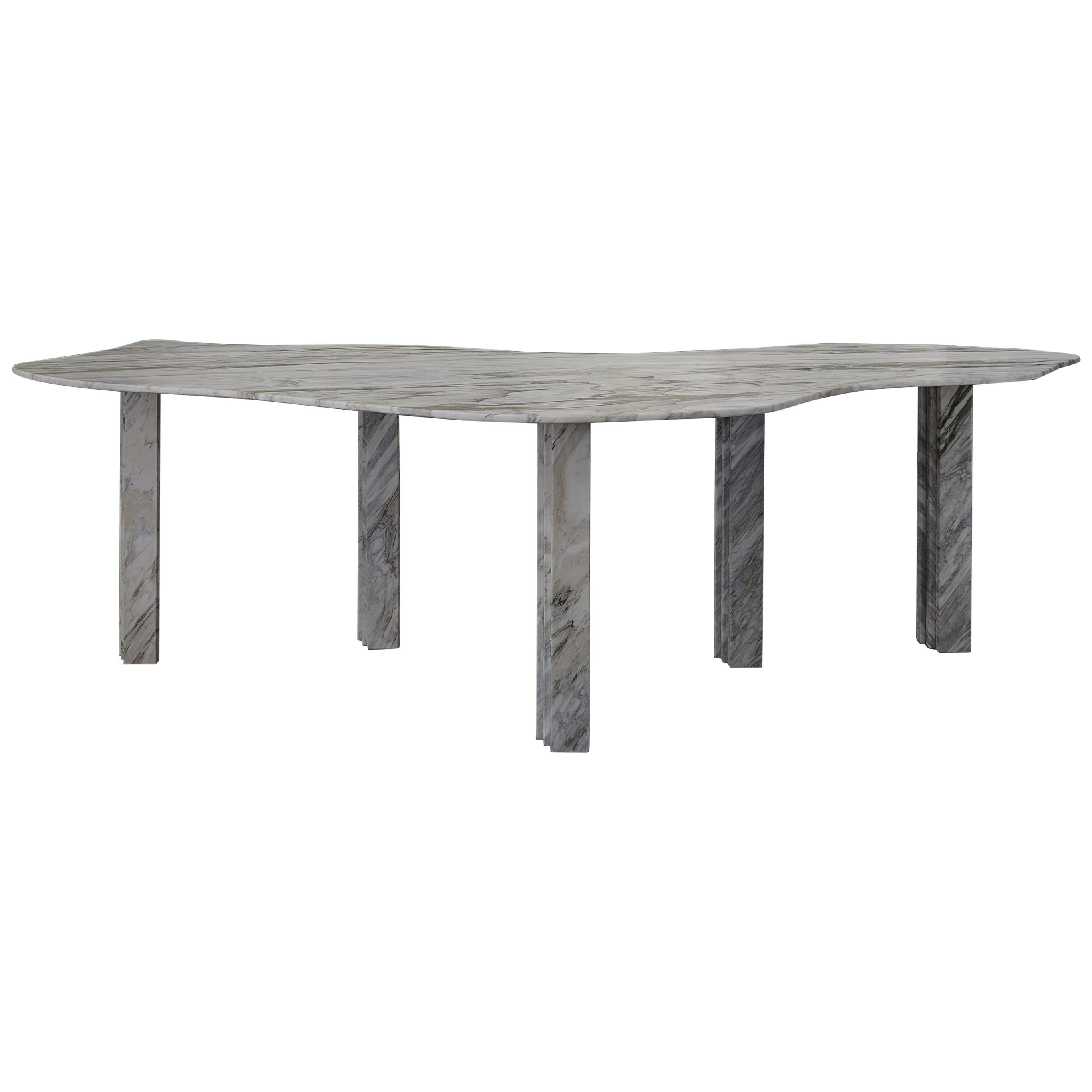 Bicolor Sculptural Marble Coffee Table Signed by Lorenzo Bini