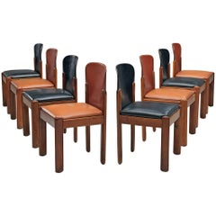 Bicolor Set of 8 Silvio Coppola Dining Chairs
