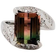 Bicolor Tourmaline Emerald Cut and White Diamond Cocktail Ring in Platinum