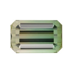 Bicolor Tourmaline Ring Gem 17.68 Carat Emerald Cut Loose Unset Gemstone