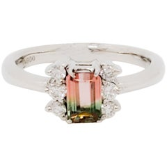 Bicolor Watermelon Emerald Cut Tourmaline and White Diamond Ring in Platinum