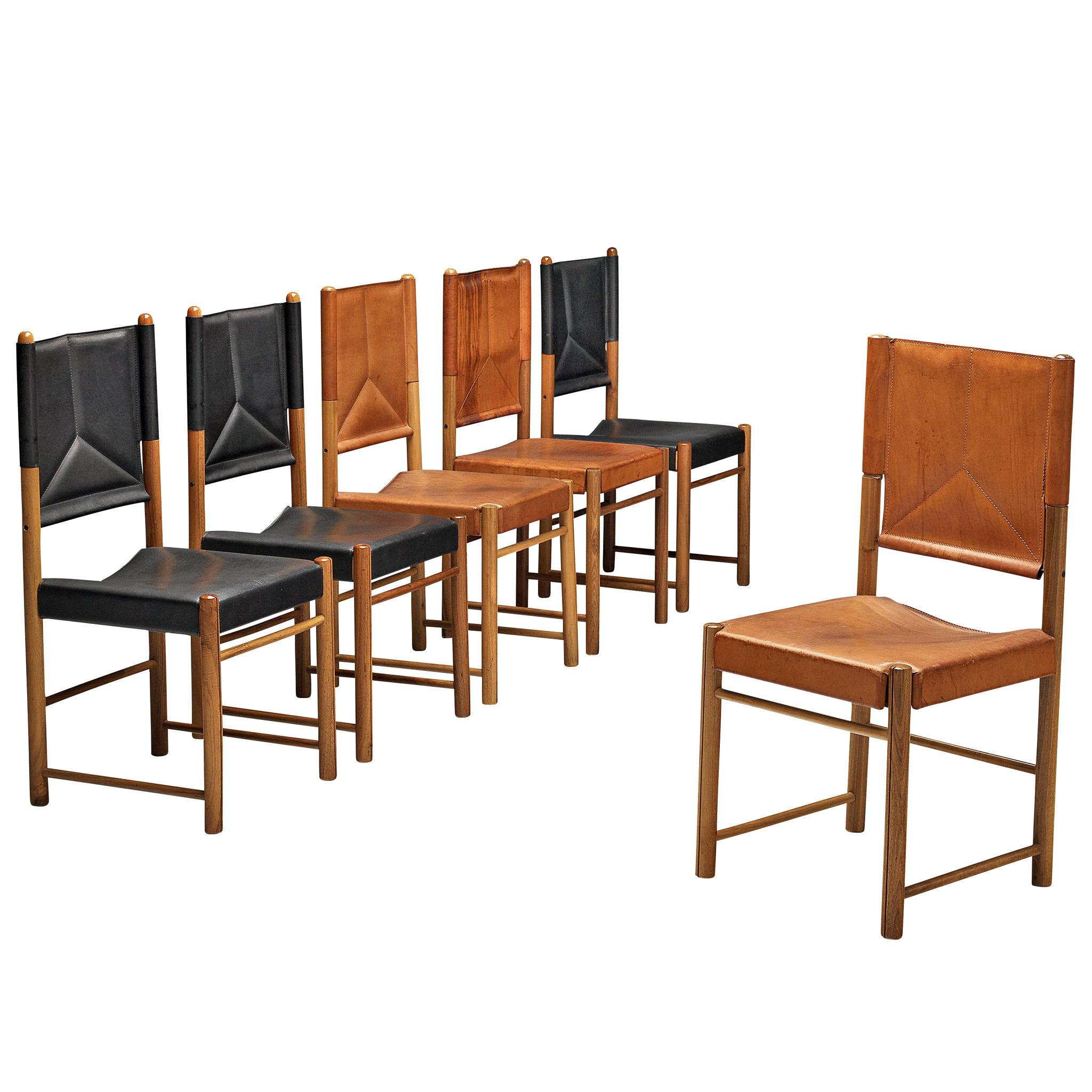 Bicolored Set of Six Italian Dining Chairs in Black and Cognac Leather