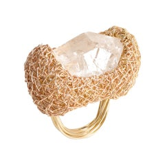 BiColour Yellow & Rose Raw Rock Crystal Cocktail Ring by Sheila Westera in Stock