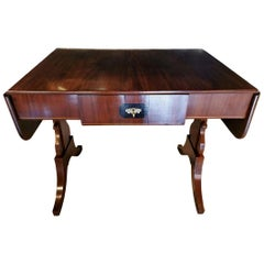 Biedermaier Writing Table in Mahogany Light Birch Wood Inlays, Denmark