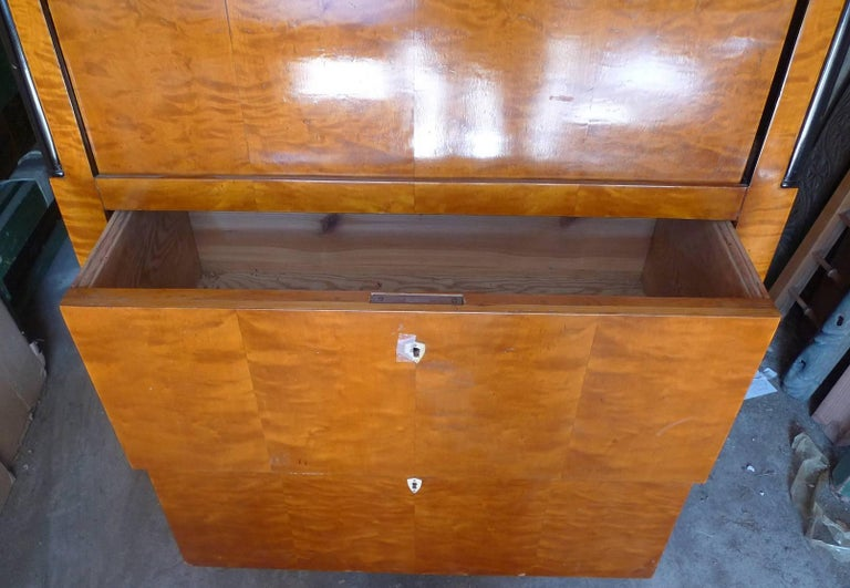 French 1930s Biedermeier drop-leaf desk or bar with double cabinets and two large drawers and mirror glass.