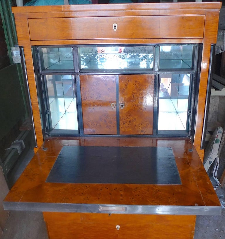 Biedermeier 1930s Drop-Leaf Desk or Bar with Double Cabinets and 2 Large Drawers In Distressed Condition For Sale In Santa Monica, CA