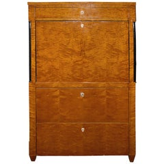 Biedermeier 1930s Drop-Leaf Desk or Bar with Double Cabinets and 2 Large Drawers