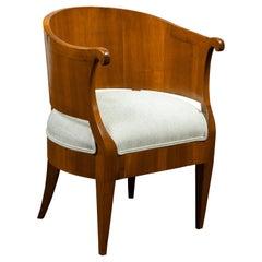 Biedermeier 19th Century Walnut Barrel Back Armchair with New Upholstery