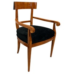Biedermeier Armchair, Cherry Wood, Black Velvet, South Germany, circa 1830