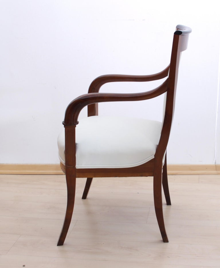 French Biedermeier Armchair, Cherrywood with Carvings, France, circa 1820 For Sale