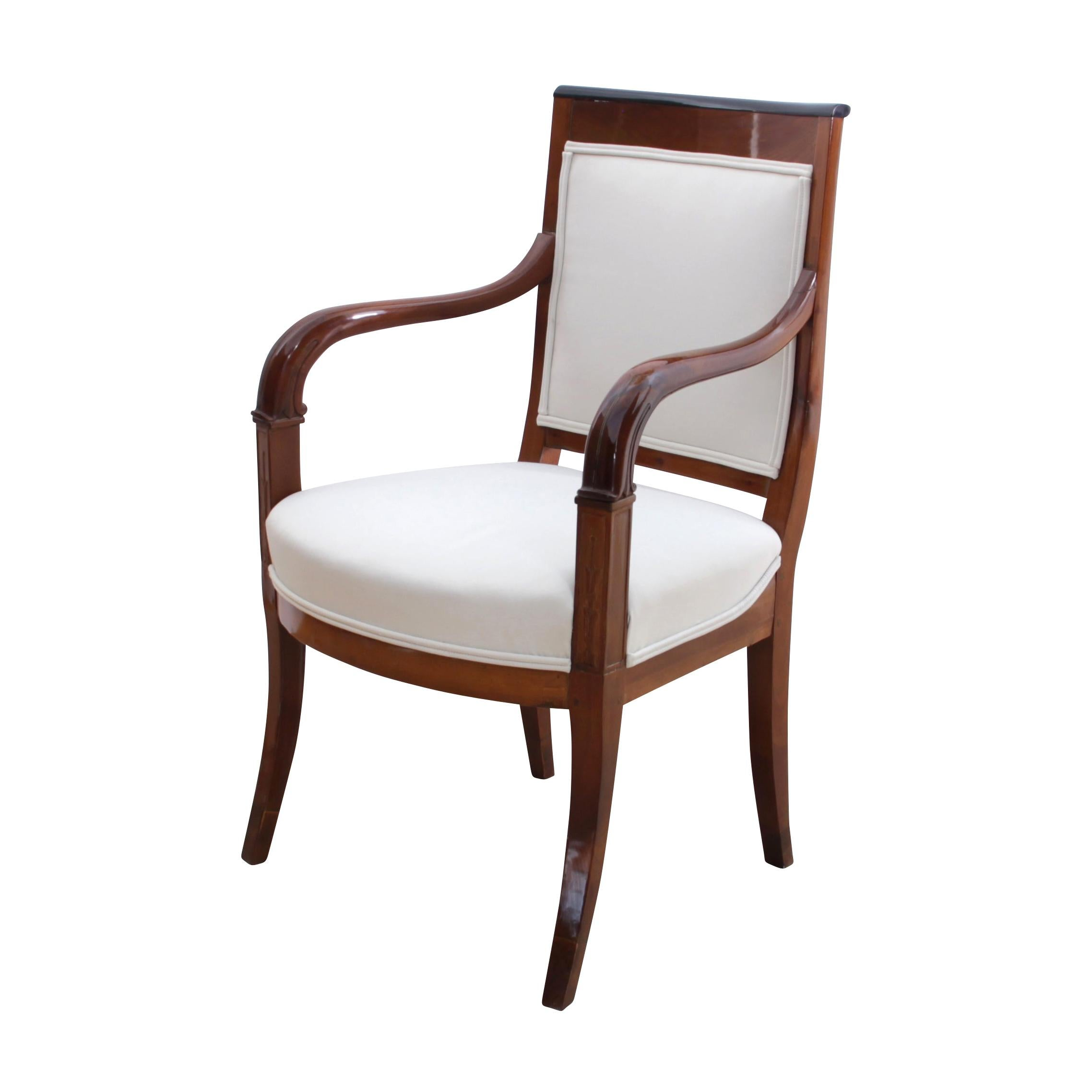 Neoclassical Armchair, Cherry Solid Wood with Carvings, France circa 1820