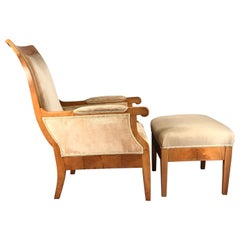 Biedermeier Armchair with Ottoman, Germany 1820-1830, Walnut