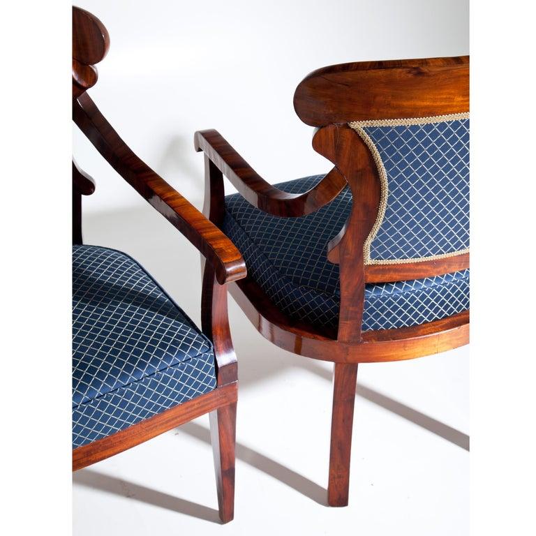 Fabric Biedermeier Armchairs, Germany, circa 1830 For Sale