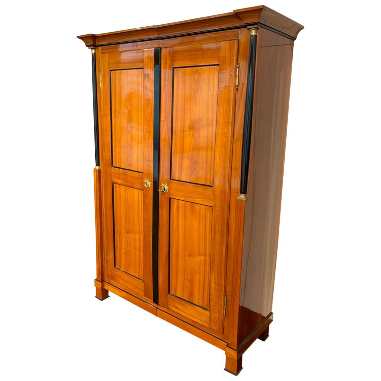 Biedermeier Armoire, Cherry Solid Wood, South Germany, circa 1820 For Sale