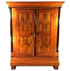 Biedermeier Armoire or Wardrobe, South Germany, 1820, Walnut and Cherry Veneer