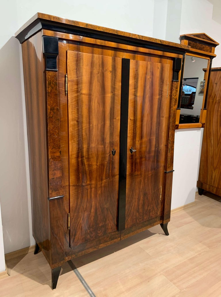 Very elegant two-doored neoclassical Biedermeier armoire from South Germany, circa 1820. Great, balanced design with a beautiful wood composition and ebonized pilaster columns.  The front, sides are veneered in a beautifully grained bookmatched