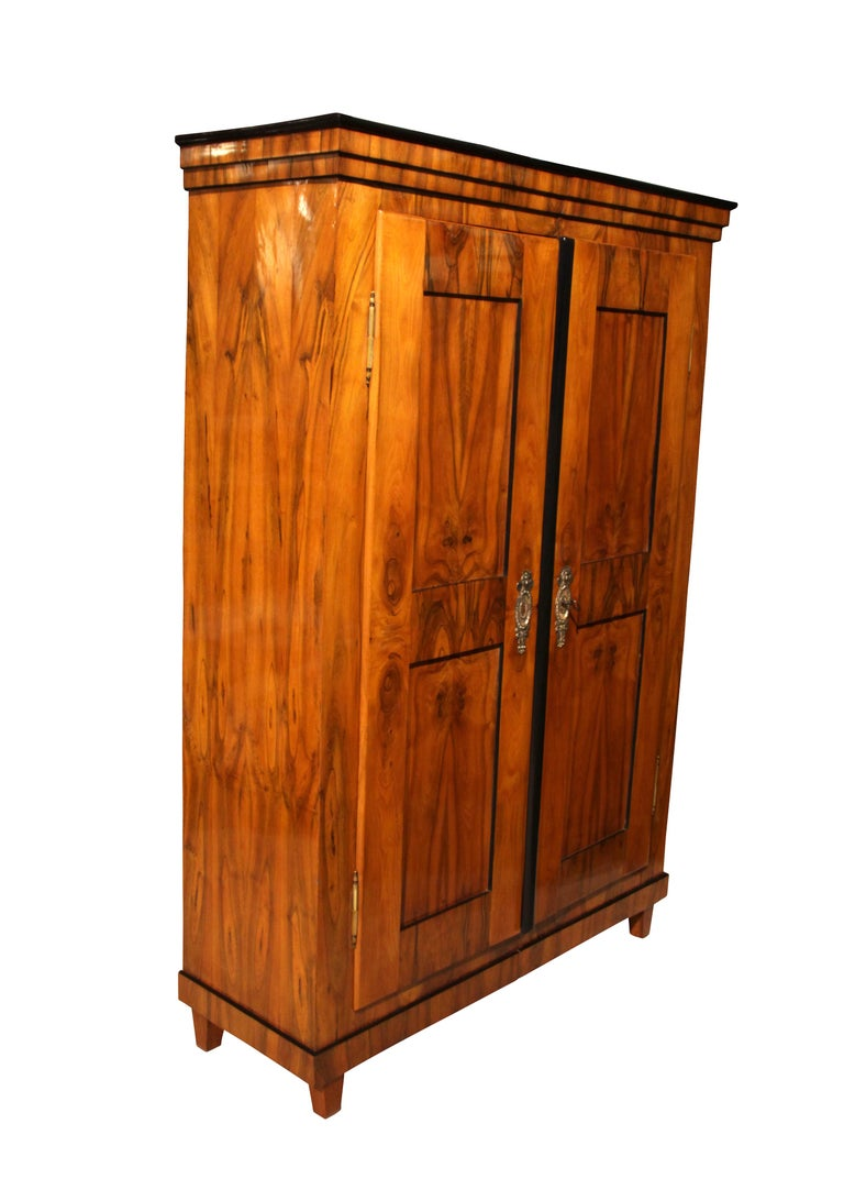 Beautiful, well-proportioned, 2-doored Biedermeier Armoire with filling panels.  Provenience: South Germany around 1820.  Wonderful walnut veneer frame and inlays.  Original brass fittings and original, working, lock and key.  French-polished with