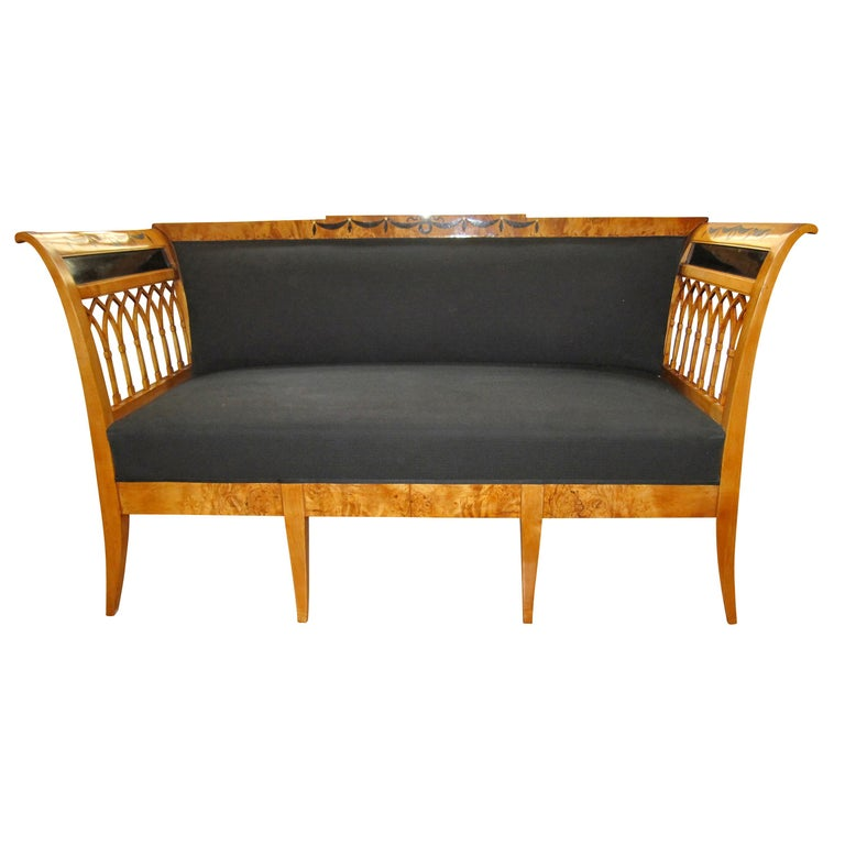 Biedermeier Bench, Birch Wood, Garland Inlays, South Germany, circa 1820 For Sale