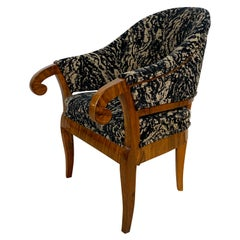 Biedermeier Bergere Chair, Walnut, Black-Brown Fabric, South Germany circa 1830