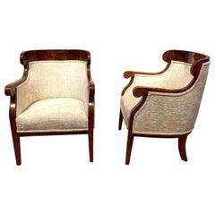 Biedermeier Bergère Chairs, Walnut Veneer, Crème Velvet, Austria, circa 1825