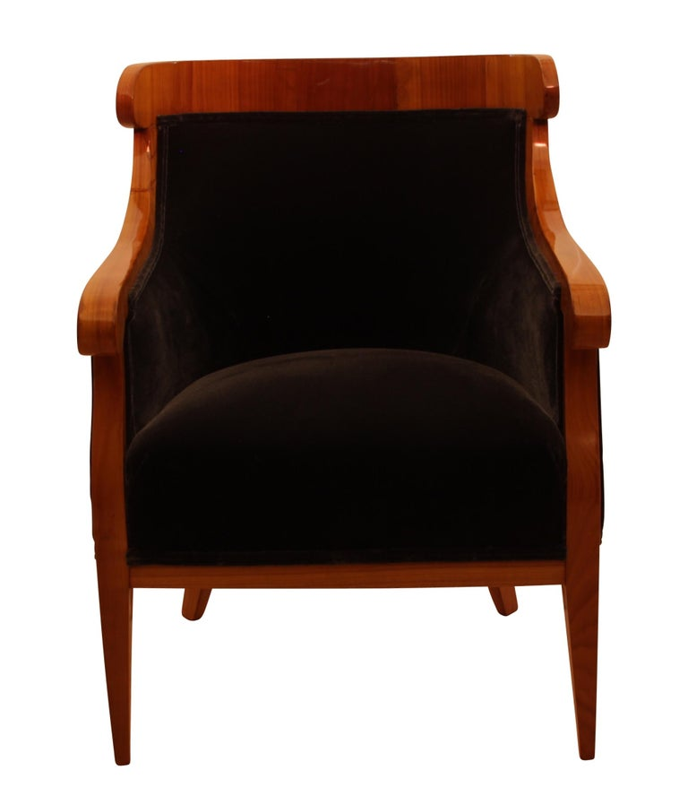 Wonderful and comfortable Biedermeier Bergère Chairs / Armchair from Austria/Vienna around 1830.  Very elegant design with conical, curved 4-edged legs made of cherry solid wood.  Vertically standing cherry veneer at the back- and armrest.