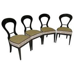 Biedermeier Black Wood and Green Velvet Chairs, 1830
