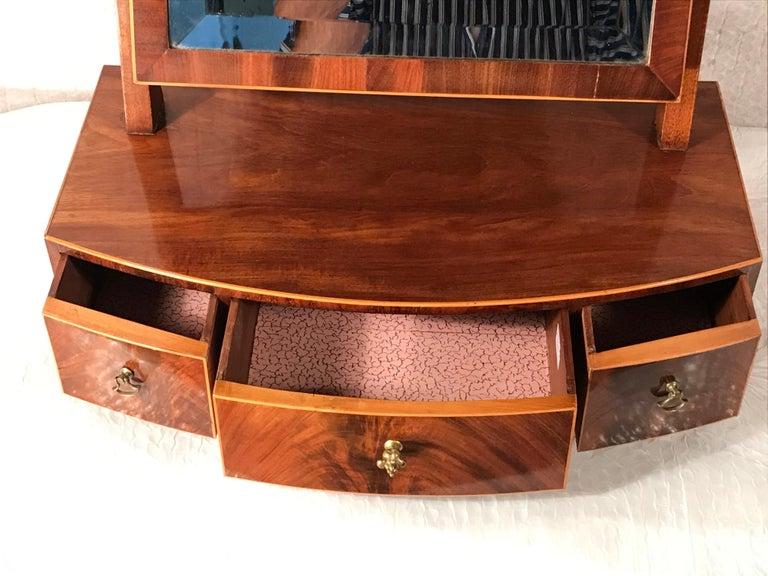 German Biedermeier Bow Front Three Drawer Dressing Table Mirror, 1820-30 For Sale