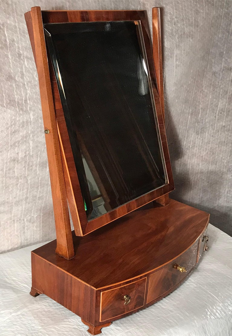 Veneer Biedermeier Bow Front Three Drawer Dressing Table Mirror, 1820-30 For Sale