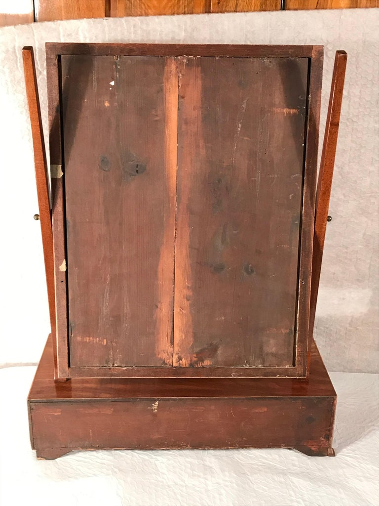Early 19th Century Biedermeier Bow Front Three Drawer Dressing Table Mirror, 1820-30 For Sale